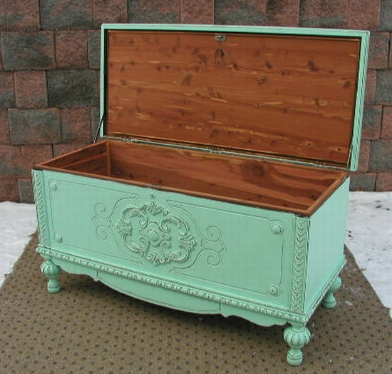 Aqua Cedar Blanket Chest Trunk Shabby Chic Painted Furniture