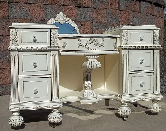Shabby chic white fancy vanity mirror painted furniture for Fancy vanity mirror